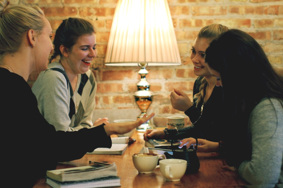 girls laughing drinking coffee dollop chicago