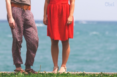 red-dress-flower-pants-legs-lake-michigan