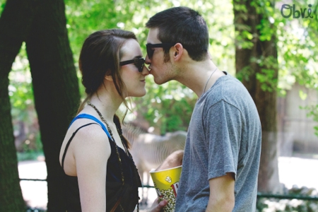Cut couple kiss on the nose popcorn