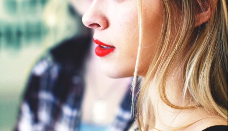 Red Lipstick On A Blonde Woman