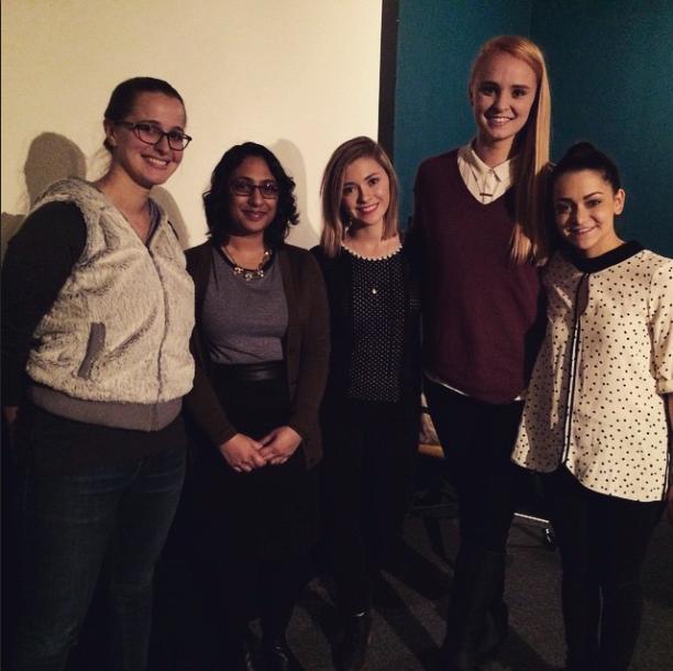 Left to Right: Katie Davis (Hollaback! Chicago Site Leader), Debjani Roy (Deputy Director of Hollaback!), myself, Mary Kate Pleggenkuhle and Madelaine Walker (Obvi Team)