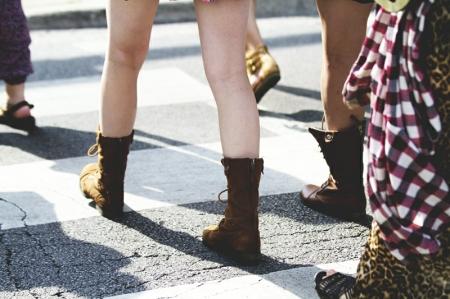 Legs walking crosswalk Chicago Boots Summer