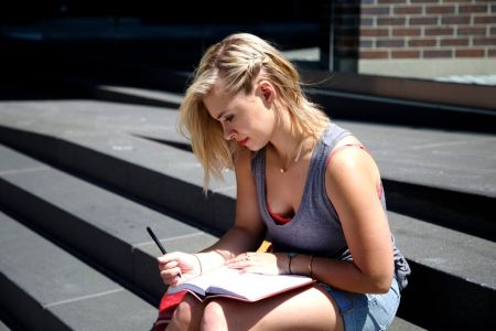 Smalls-Short-Blonde-hair-steps-writing-notebook