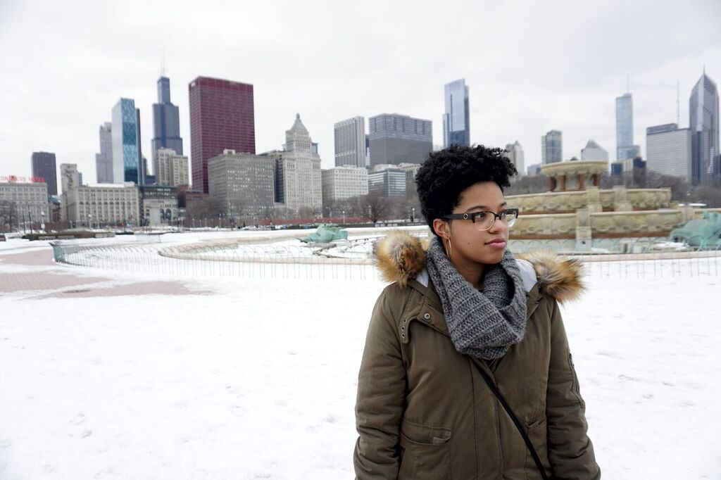 woman with natural hair in snowy grant park chicago
